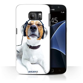 STUFF4 Case/Cover for Samsung Galaxy S7/G930/Chillin Headphone Dog Design/Funny Animals Mobile phones