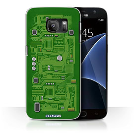 STUFF4 Case/Cover for Samsung Galaxy S7/G930 / Green Design / Circuit Board Collection Mobile phones