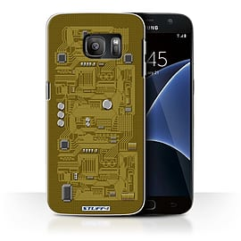 STUFF4 Case/Cover for Samsung Galaxy S7/G930 / Yellow Design / Circuit Board Collection Mobile phones