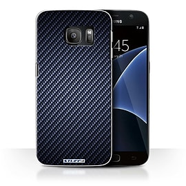 STUFF4 Case/Cover for Samsung Galaxy S7/G930 / Blue Design / Carbon Fibre Effect/Pattern Collection Mobile phones