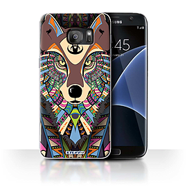 STUFF4 Case/Cover for Samsung Galaxy S7 Edge/G935/Wolf-Colour Design/Aztec Animal Mobile phones