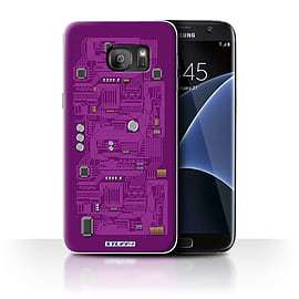 STUFF4 Case/Cover for Samsung Galaxy S7 Edge/G935 / Purple Design / Circuit Board Collection Mobile phones