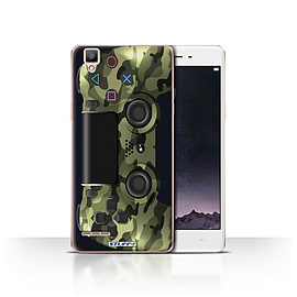 STUFF4 Case/Cover for Oppo F1 / Green Camouflage Design / Playstation PS4 Collection Mobile phones