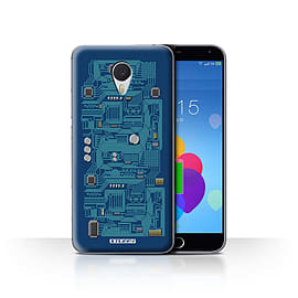STUFF4 Case/Cover for Meizu M3 Note / Blue Design / Circuit Board Collection Mobile phones