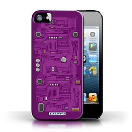 STUFF4 Case/Cover for Apple iPhone SE / Purple Design / Circuit Board Collection Mobile phones