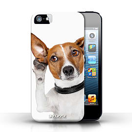 STUFF4 Case/Cover for Apple iPhone SE / Listening Dog Design / Funny Animals Collection Mobile phones