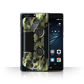 STUFF4 Case/Cover for Huawei P9 Plus / Green Camouflage Design / Playstation PS4 Collection Mobile phones