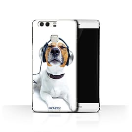STUFF4 Case/Cover for Huawei P9 / Chillin Headphone Dog Design / Funny Animals Collection Mobile phones