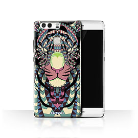 STUFF4 Case/Cover for Huawei P9 / Tiger-Colour Design / Aztec Animal Design Collection Mobile phones