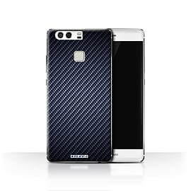 STUFF4 Case/Cover for Huawei P9 / Blue Design / Carbon Fibre Effect/Pattern Collection Mobile phones