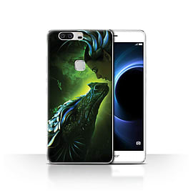 Official Elena Dudina Case/Cover for Huawei Honor V8/Green Scales Design/Dragon Reptile Mobile phones