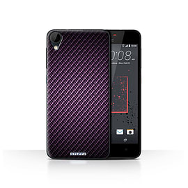 STUFF4 Case/Cover for HTC Desire 825 / Purple Design / Carbon Fibre Effect/Pattern Collection Mobile phones