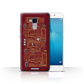 STUFF4 Case/Cover for Huawei Honor 5c / Red Design / Circuit Board Collection Mobile phones