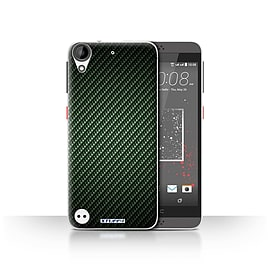 STUFF4 Case/Cover for HTC Desire 630 / Green Design / Carbon Fibre Effect/Pattern Collection Mobile phones