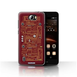 STUFF4 Case/Cover for Huawei Y5II/Y5 2 / Red Design / Circuit Board Collection Mobile phones