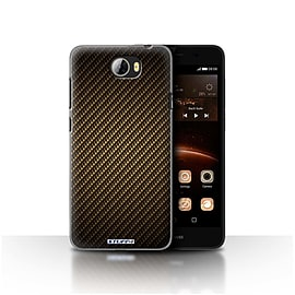 STUFF4 Case/Cover for Huawei Y5II/Y5 2 / Gold Design / Carbon Fibre Effect/Pattern Collection Mobile phones