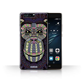 STUFF4 Case/Cover for Huawei P9 Plus / Monkey-Colour Design / Aztec Animal Design Collection Mobile phones