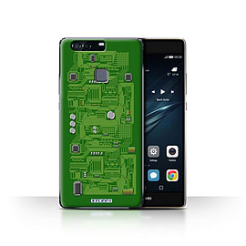 STUFF4 Case/Cover for Huawei P9 Plus / Green Design / Circuit Board Collection Mobile phones