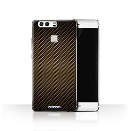 STUFF4 Case/Cover for Huawei P9 / Gold Design / Carbon Fibre Effect/Pattern Collection Mobile phones