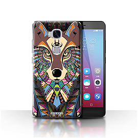 STUFF4 Case/Cover for Huawei Honor 5X/GR5 / Wolf-Colour Design / Aztec Animal Design Collection Mobile phones