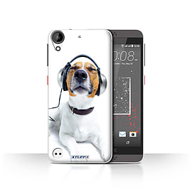 STUFF4 Case/Cover for HTC Desire 530 / Chillin Headphone Dog Design / Funny Animals Collection Mobile phones