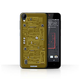 STUFF4 Case/Cover for HTC Desire 825 / Yellow Design / Circuit Board Collection Mobile phones
