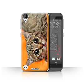STUFF4 Case/Cover for HTC Desire 530 / Big Eye Cat Design / Funny Animals Collection Mobile phones
