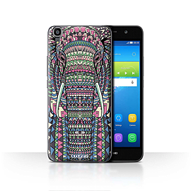 STUFF4 Case/Cover for Huawei Y6 / Elephant-Colour Design / Aztec Animal Design Collection Mobile phones