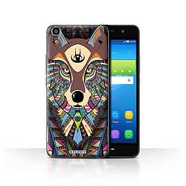 STUFF4 Case/Cover for Huawei Y6 / Wolf-Colour Design / Aztec Animal Design Collection Mobile phones
