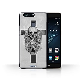 STUFF4 Case/Cover for Huawei P9 Plus / Cross/Crucifix Design / Skull Art Sketch Collection Mobile phones