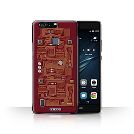 STUFF4 Case/Cover for Huawei P9 Plus / Red Design / Circuit Board Collection Mobile phones