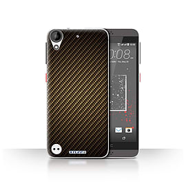 STUFF4 Case/Cover for HTC Desire 530 / Gold Design / Carbon Fibre Effect/Pattern Collection Mobile phones