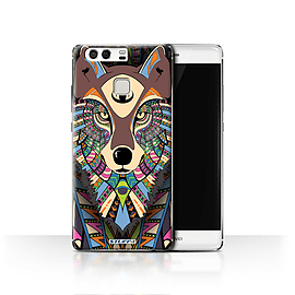 STUFF4 Case/Cover for Huawei P9 / Wolf-Colour Design / Aztec Animal Design Collection Mobile phones