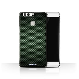 STUFF4 Case/Cover for Huawei P9 / Green Design / Carbon Fibre Effect/Pattern Collection Mobile phones