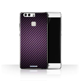 STUFF4 Case/Cover for Huawei P9 / Purple Design / Carbon Fibre Effect/Pattern Collection Mobile phones