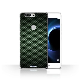 STUFF4 Case/Cover for Huawei Honor V8 / Green Design / Carbon Fibre Effect/Pattern Collection Mobile phones