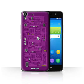 STUFF4 Case/Cover for Huawei Y6 / Purple Design / Circuit Board Collection Mobile phones