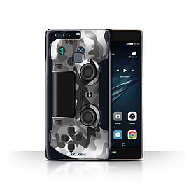 STUFF4 Case/Cover for Huawei P9 Plus / White Camouflage Design / Playstation PS4 Collection Mobile phones