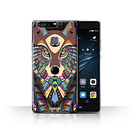 STUFF4 Case/Cover for Huawei P9 Plus / Wolf-Colour Design / Aztec Animal Design Collection Mobile phones