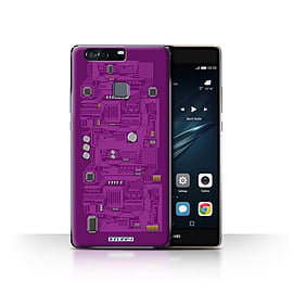 STUFF4 Case/Cover for Huawei P9 Plus / Purple Design / Circuit Board Collection Mobile phones