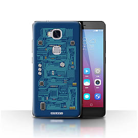 STUFF4 Case/Cover for Huawei Honor 5X/GR5 / Blue Design / Circuit Board Collection Mobile phones