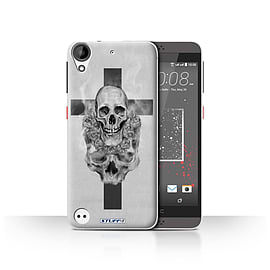 STUFF4 Case/Cover for HTC Desire 530 / Cross/Crucifix Design / Skull Art Sketch Collection Mobile phones