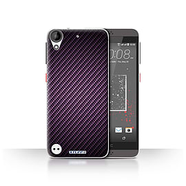 STUFF4 Case/Cover for HTC Desire 530 / Purple Design / Carbon Fibre Effect/Pattern Collection Mobile phones