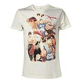 CAPCOM Street Fighter IV Adult Male Character Roster T-Shirt, Large, White (TS504573SFG-L) Clothing