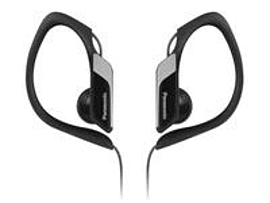 Panasonic Sport type headphone, black IPX2, water resistant, w. elastomer hook, microfone. In-ear, Multi Format and Universal