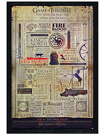 Game of Thrones Black Wooden Framed Infographic Maxi Poster 61x91.5cm Posters
