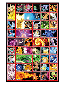Pokemon Gloss Black Framed Moves Maxi Poster 61x91.5cm Posters