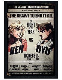 Street Fighter Black Wooden Framed Fight Poster Maxi Poster 61x91.5cm Posters