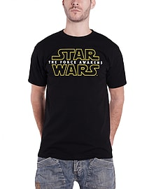 Star Wars T Shirt Force Awakens Logo Official Mens New BlackSize: XL XL