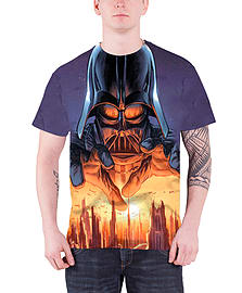 Star Wars T Shirt Vader Menace Official Mens slim fit All over print sub dyeSize: XL Clothing